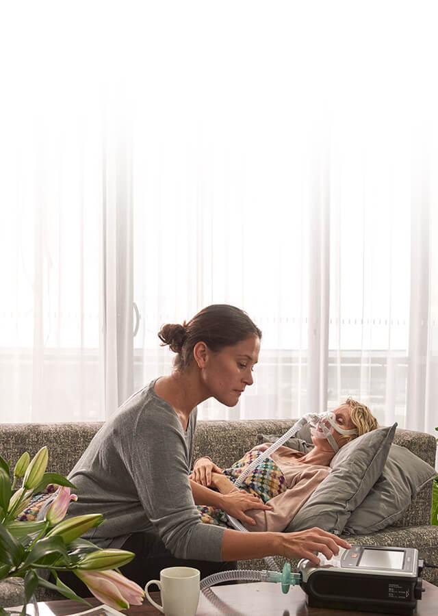 Flexibel noninvasiv och invasiv ventilator